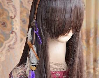 AN007 Boho feather headband