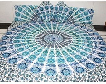 AEM 059 Blue green turquoise queen Mandala bedspread with pillow cases and cushion covers