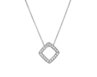 925 Solid Sterling Silver cubic zironia cushion shape Necklace Pendant choker Jewelry,rolo Chain, charm necklace, Women's Ladies Wife Gift