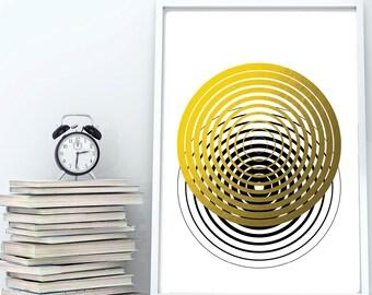 Circle Print, Op Art, Op Art Print, Op Art Wall Art, Circle Art, Abstract Print, Abstract Art, Abstract Printable, Faux Gold Foil Print