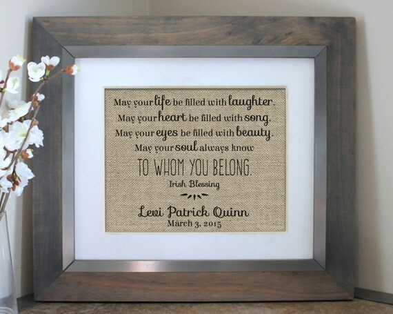 Personalized Baby Gifts Ireland : Irish blessing baby nursery decor personalized shower