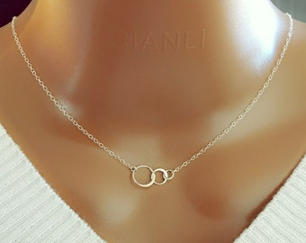 Sterling Silver Circle Necklace, Three Ring Necklace, Family Necklace, Sterling Silver Ring Necklace, Infinity Necklace, Simple Jewelry