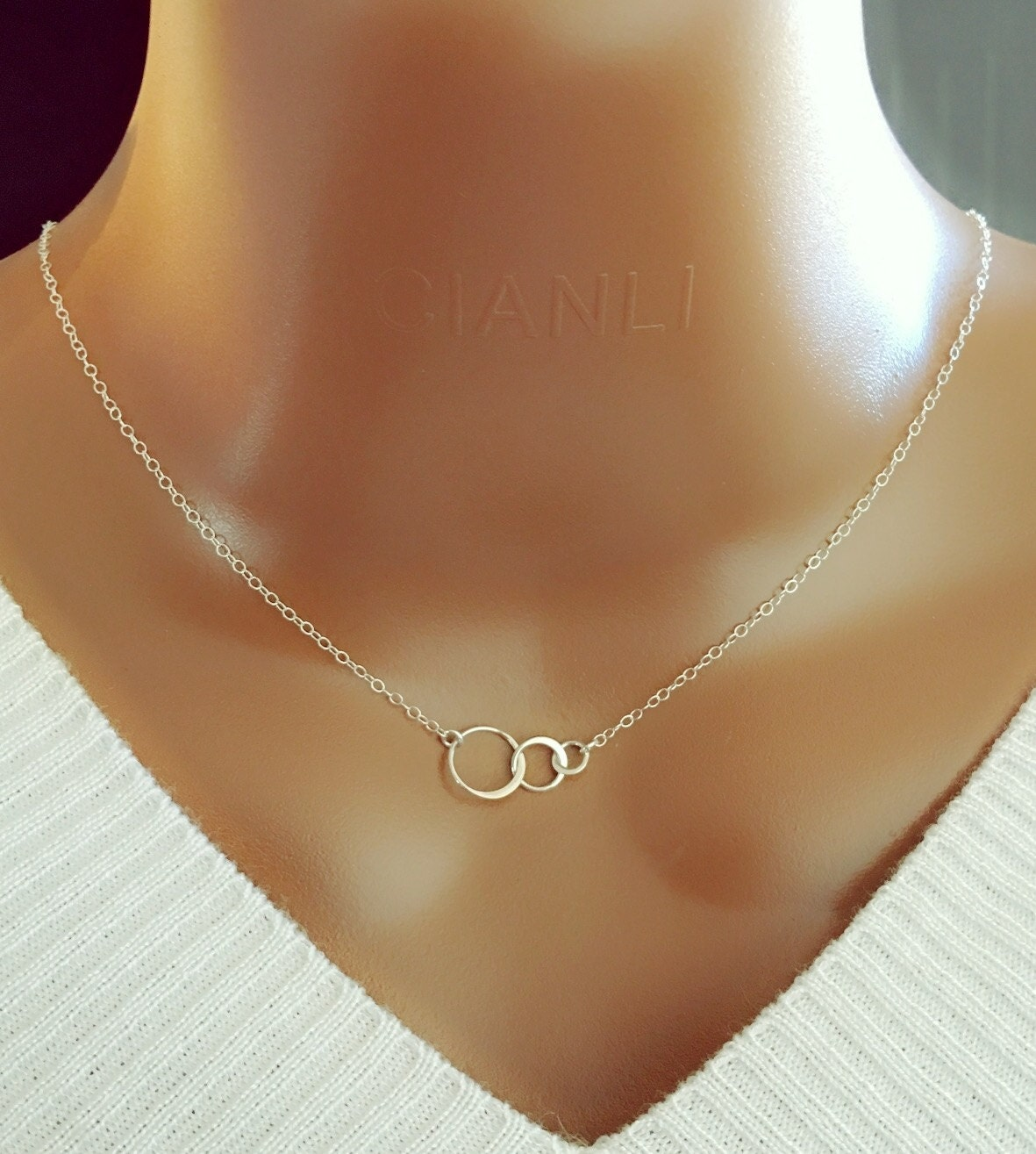 sterling silver circle necklace three ring necklace family