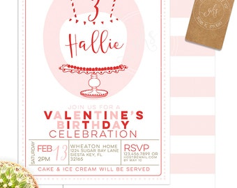 Valentine Birthday Cake invitation -1st,  2nd, 3rd, 4th, 5th or any Birthday - gks_A190