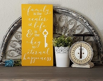 Painted Wood Sign Family is the Key to Eternal Life (YELLOW VERSION)