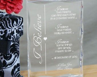 I Believe Personalized Keepsake, Couples Keepsake