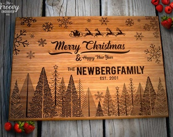 Personalized Engraved Cutting Board, Christmas Holiday Family Couples Name Gift, Bamboo Cutting Board, Caramel or Natural // Christmas 14X10