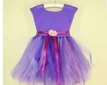 Purple Princess Costume Crochet Tutu Dress Rapunzel Inspired Purple Dress Kids Purple Tulle Skirt Tutu Birthday Outfit