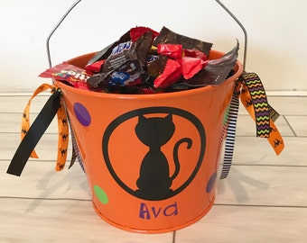 Halloween Bucket- Metal Bucket- Halloween bag- Trick or Treat Bucket- Personalized Halloween Bucket- Personalized Bucket- Cat Halloween
