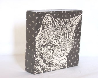 Tile - Hand carved Cat 1