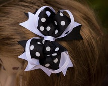 Over the top white and black grosgrain ribbon, girls hair bow, kids hair bow