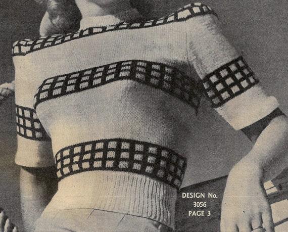1940s Sewing Patterns – Dresses, Overalls, Lingerie etc 1940s Ladies Sweater ... PDF Knitting Pattern ... Stunning Vintage Check Stripe Design ... Instant Download ... Ladies Jumper $3.14 AT vintagedancer.com