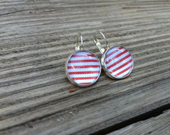 red stripes cabochons earrings