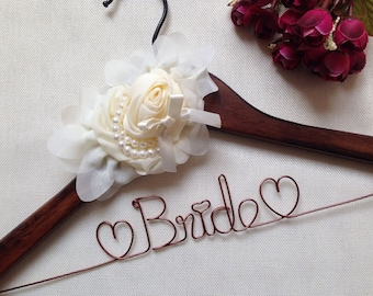 Ships in Today,Elegant Personalized Bridal Wedding Hanger,Bride Hanger,Custom Flowers and Pearls Wedding Hanger,Name hanger,Bridesmaid gifts