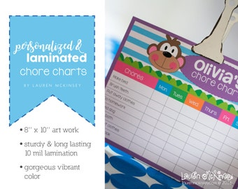 Personalized laminated chore charts for kids. Job chart for kids. Dry erase chore chart. Daily chore chart.