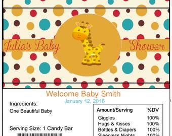 Giraffe Baby Shower Candy Bar Wrapper