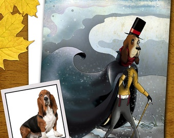 "Illustration-print the gelid Monsieur dog/the Icy Monsieur Dog-series ""elegant animals"""