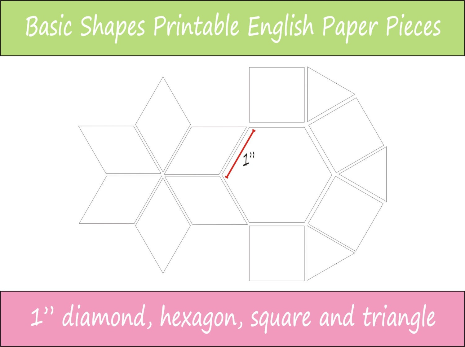 1 Printable Basic Shapes For English Paper Piecing EPP