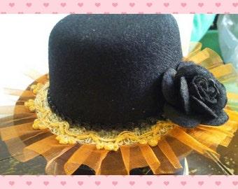 mini top hat - black and orange