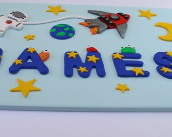Space Theme Name Banner Custom Boys Name Sign Baby Shower Gift Personalised  Nursery Name Plaque Space