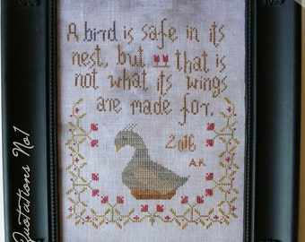 A bird in nest cross stitch primitive PDF pattern for hand dyed flosses