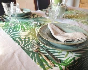 Tropical table runner, leaves,  green, beach, island, colorfull,dinnertable, decorative linens, rectangular shape 150x45cm ( 59x17.7 inches)