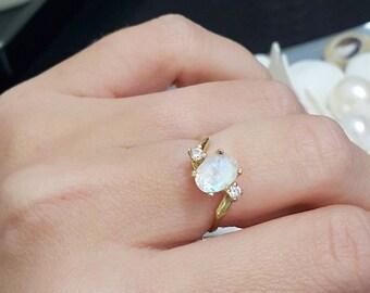 SALE! Gold Genuine Moonstone Ring,triple Ring, Rainbow Stone Ring,Slim Band, Gemstone Ring,Stacking Ring, June Ring,Simple Ring