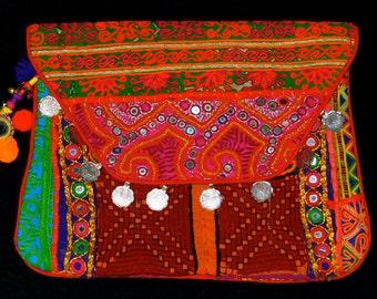 Large Vintage Banjara Gypsy Tribal Clutch Bag Purse W/Shoulder Strap