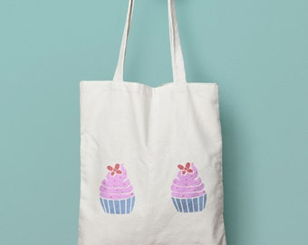Tote bag in cotton cupcakes