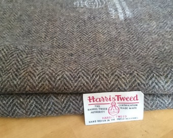 Harris Tweed Cloth Fabric Brown Herringbone with Harris Tweed Stamp on reverse Luxury Handwoven 100% Pure Virgin Wool