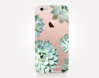 Transparent Succulent Phone Case - Transparent Case - Clear Case - Transparent iPhone 7 - Samsung S7 - Soft TPU - Gel Case - iPhone SE