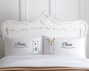 Christmas Pillows Gifts Personalized Couple Pillowcases Christmas bedding decor holiday Winter Pillows pillow cases couple Christmas gifts