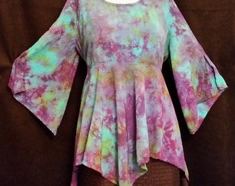 Turquoise, Purple, and Green East meets West Top - Women's Sizes