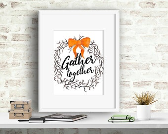 Fall Wall Decor gather poster | etsy