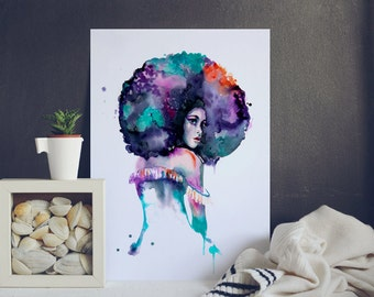 Afro woman - Watercolor Painting -Print - Home Decor - Asia art woman Portrait - India Exotic lady