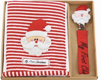 Monogram, First Christmas Set, Burp Cloth, Pacy Clip, Gift Set, Mud Pie