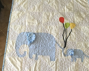 Elephant quilt for baby boy