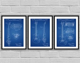 Fender Guitar Poster - 3 PACK,  Fender Guitar Blueprint, Fender Guitar Patent, Fender Guitar Prints, Fender Guitar Art, Guitar Wall Decor
