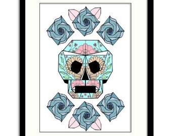 Skull & roses origami print