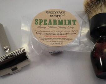 SPEARMINT MENTHOL Luxury Tallow Shaving Soap SAMPLE 1 Oz.