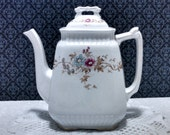 """Antique """"Rustic"""" Ironstone Teapot by Wood and Son, Decor 74855, Blank 53930, Large Teapot, Circa 1800s"""