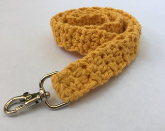 Gold Crochet Lanyard, Crochet Lanyard, Handmade Cotton Lanyard, Gift for Her, Teacher Gift, ID Holder, Keys, Crochet Key Holder