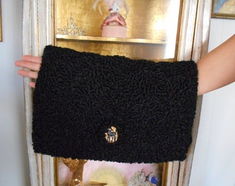 Awesome 1940's Black Persian Lamb Muff/Purse