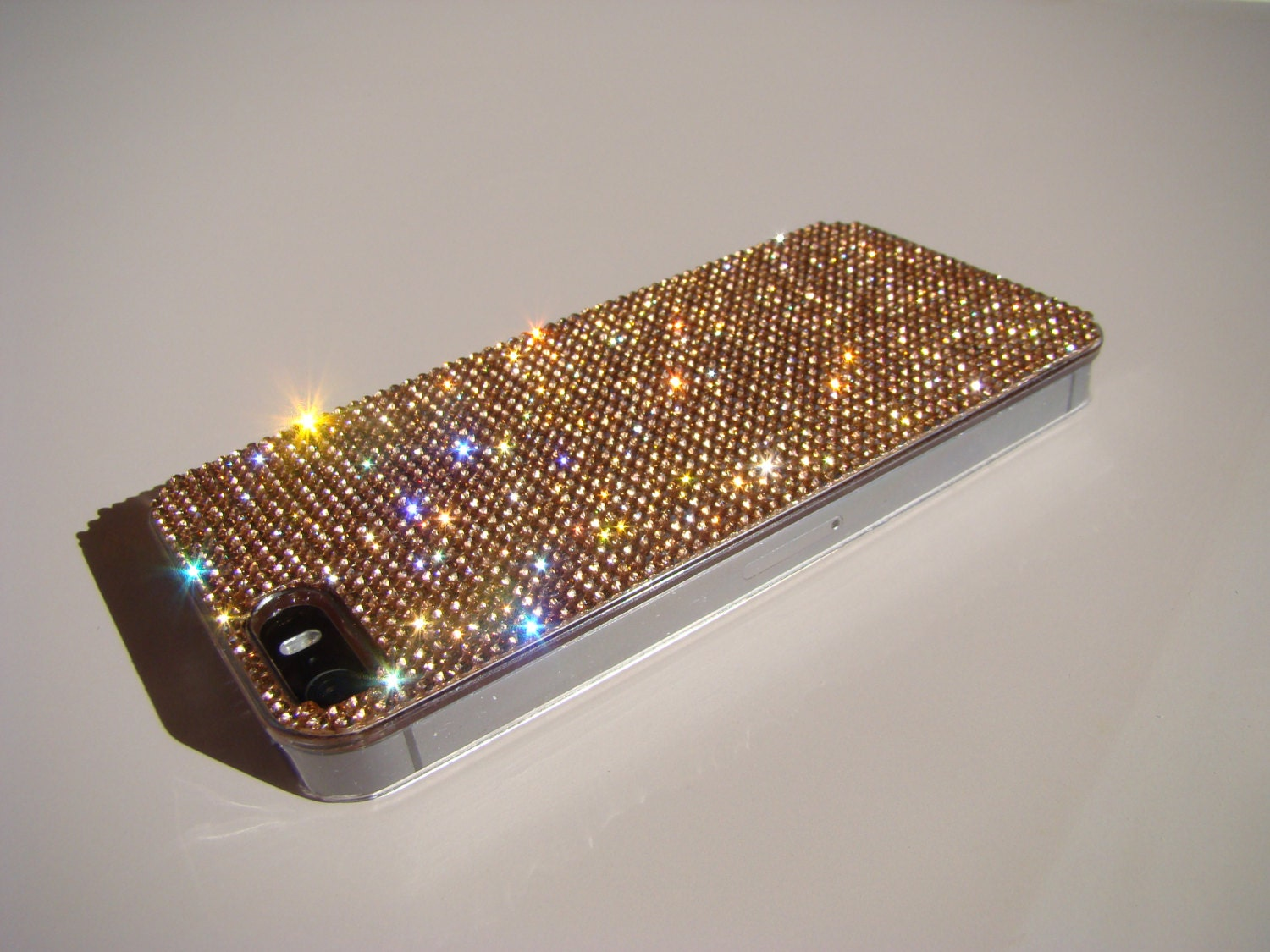 iphone 5 5s 5se rose gold rhinestone crystals on. Black Bedroom Furniture Sets. Home Design Ideas