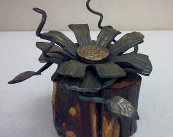 Hand Forged Steel Flower  and Cedar base