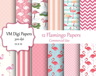 Pink Flamingo Digital Paper, Pink Flamingos, Flamingos, Pink, Project Life, Digital Paper with flamingos, flamingo patterns in pink