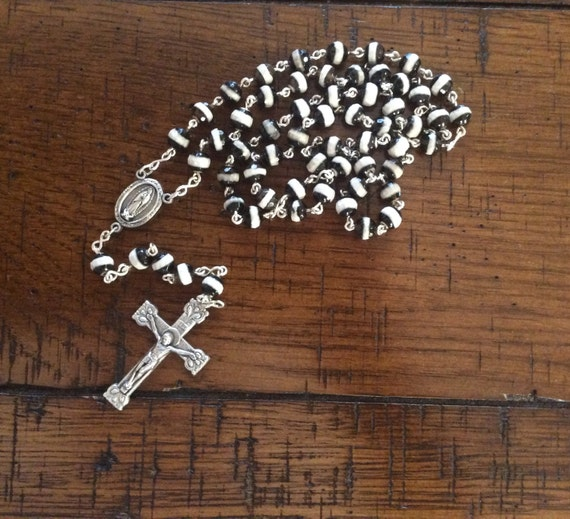 BANDED AGATE ROSARY Beads with Sterling Silver and Pewter Components