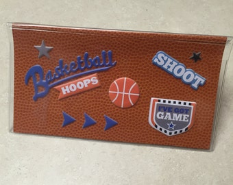 Basketball Theme - Vinyl Checkbook cover,Scrapbook style,Duplicate or Single Checks, No wait Ready to Ship