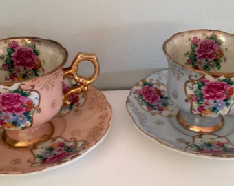 Vintage Lefton China teacup and saucer/blue teacup/dusty rose teacup/gilded cup/pattern 1164