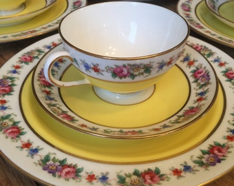 Cauldon, England, teacup trio, sunny yellow with flowers, English tea cup